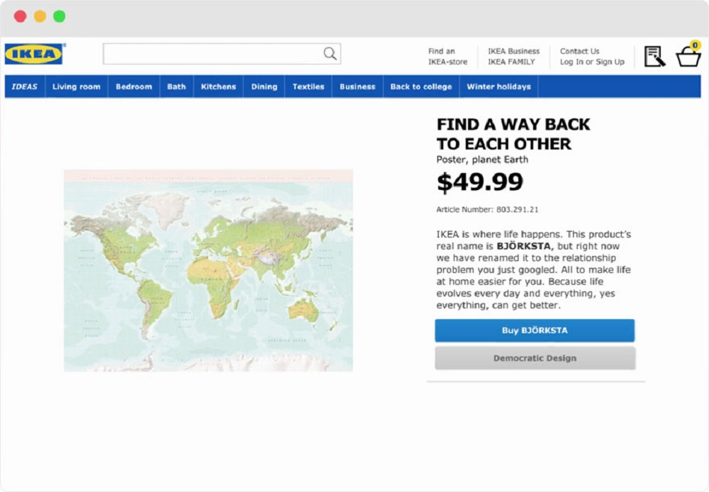 IKEA Used Most Googled Relationship Drama To Rename Their Products - Ikea us map