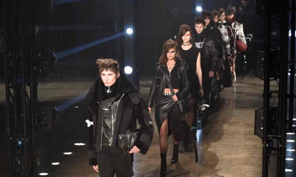 Versus models on the runway at London fashion week. Credits: WWD/Rex/Shutterstock