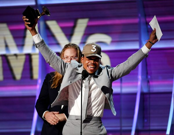 Chance the Rapper accepts the award for Best New Artist.
